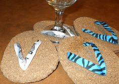 WINE GLASS COASTERS...EASY (TOOK ME ABOUT AN HOUR FOR ALL FOUR OF THEM) AND FUN FOR SUMMER!!!!!!