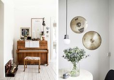 In addition to vintage, wooden pianos, chic, hanging light bulbs and percussion drums can add edginess to a neutral space. Percussion Drums, Hanging Light Bulbs, Music Rooms, Brick And Mortar, Record Collection, Rustic Charm, Rustic Design, New Room, Living Rooms