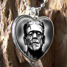 Frankenstein Universal Monster Halloween Heart Horror Glass Pendant Necklace Etsy.
