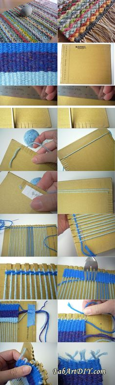 This is a very useful way to weave rugs at lowest cost you can use yarn cord rope or fabric scraps to make rug but thin yarn or thread .make a super large loom from cardboard: Yarn Crafts, Diy And Crafts, Arts And Crafts, Yarn Projects, Diy Projects To Try, Loom Knitting, Knitting Scarves, Knitting Ideas, Knitting Patterns