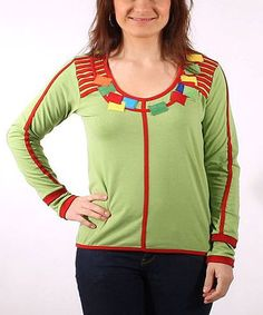 Look what I found on #zulily! Lime & Red Geo Embellished Wool-Blend Scoop Neck Top - Women by Coline USA #zulilyfinds