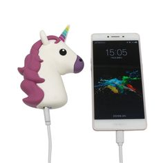 Portable Unicorn Charger. This unicorn falls asleep when it's not charging your phone.