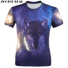 New 3D T shirt Men Animal print Fierce wolves Short Sleeve Costume Wolf Fitness tshirt Galaxy homme Camisetas Just look, that`s outstanding! www.lady-fashion.... #shop #beauty #Woman's fashion #Products