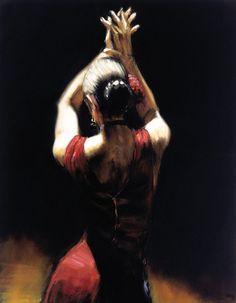 Fabián Pérez Flamenco Dancer, pintura al óleo Giclee Prints Arte en lienzo de la decoración de la pared