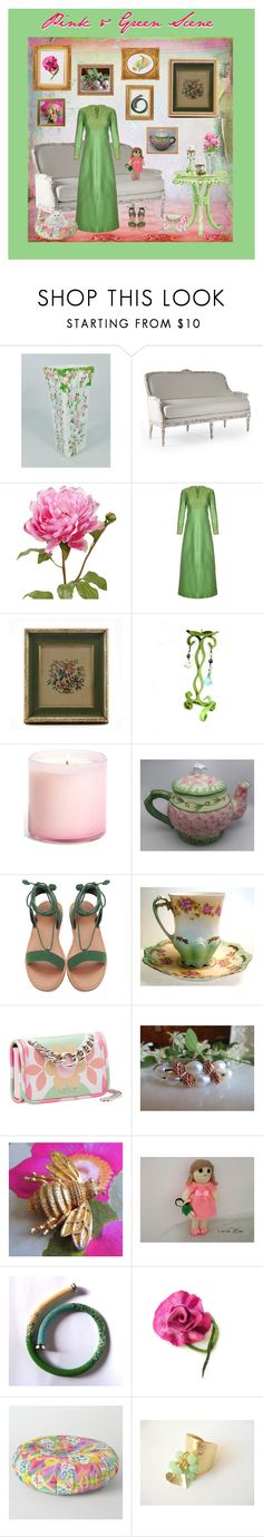 """Pink & Green Scene"" by anna-ragland ❤ liked on Polyvore featuring Gino Charles, WALL, LAFCO, Miu Miu, Avon, Bambola and vintage"