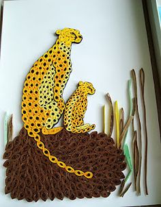 Qullled Cheetahs - art by Simona, via ganduripebigudiuri blog;  Emanuela Jalba commented on a pin of this picture that her sister (Simona) made this, and provided this link (more, here: https://www.facebook.com/si...)