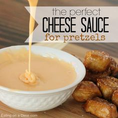 Best Recipe for Cheese Sauce for Pretzels - only two ingredients to make this cheese - perfect for dipping your soft pretzels. Microwave Cheese Sauce, Velveeta Cheese Sauce, Homemade Cheese Sauce, Homemade Soft Pretzels, Pretzels Recipe, Cheese Dip For Soft Pretzels, Chutney, Easy Cheese, Cheese Dips