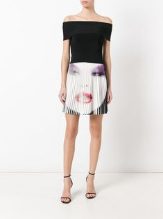 Jeremy Scott face print pleated skirt
