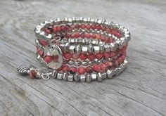 Fire Agate Gemstone Memory Wire Wrap Bracelet by McHughCreations, $26.95