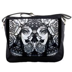 Womens Day of the Dead Rainbow Messenger  Adorned   by Pajamasquid, $67.99