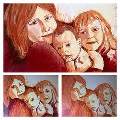 "Progress, the creative process. Portrait - ""Three girls"" (canvas, doesn't need frame, 30x25cm) #portrait #paintings #acrylics #art #artist #canvas #people #kids #children #sylchra #original #process #creative #progress"