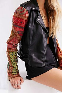 Ecote Embellished-Sleeve Vegan Leather Jacket - Urban Outfitters - LOOOOVEEE this concept and might have to make it myself