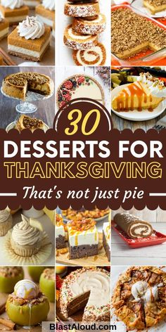 30 Amazing and easy dessert recipes for Thanksgiving thats not pie! Spice things up a bit this Thanksgiving by making something other than your usual Thanksgiving desserts. These tasty Thanksgiving dessert recipes will be a hit at any Thanksgiving dinner! Mini Desserts, Tolle Desserts, Desserts To Make, Holiday Desserts, Holiday Foods, Health Desserts, Thanksgiving Desserts Easy, Fall Dessert Recipes, Fall Recipes