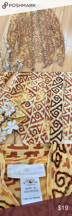 f490eaaaf973f1 Soft Surroundings batik open hang cardigan shirt L Beautiful and sweet  muted yellow boutique style open