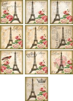 "10 Vintage Altered Art Paris Eiffel Tower 2"" Cards with Envelopes Organza Bag 