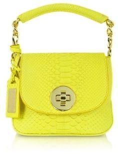 Python Leather Shoulder Bag / ShopStyle: GhibliMini Yellow