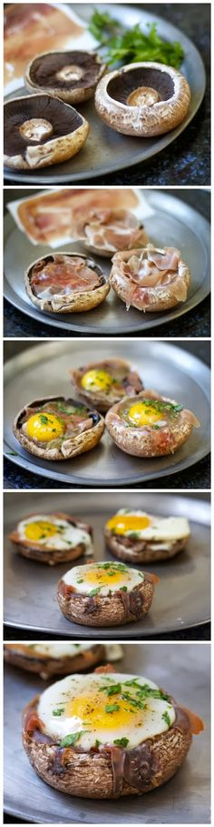 Baked Eggs in Prosciutto Filled Portobello Mushroom Caps (Paleo, Low Carb) Think Food, I Love Food, Good Food, Yummy Food, Tasty, Low Carb Recipes, Cooking Recipes, Healthy Recipes, Egg Recipes