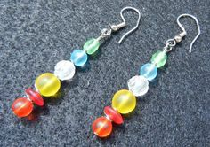 Rainbow Glass Bead Earrings Wrapped with Silver by KatCKsWraps, $14.00