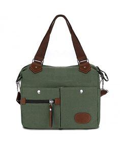 Canvas Handbag with Pockets Women Satchel Handbag Casual Crossbody Shoulder  Bag Messenger Bag - Green - CJ182DWUO8R ef287524bba1e