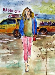 Streetstyle - Original von *zeitgenössische kunst von maria-mercedes* auf DaWanda.com Watercolor painting