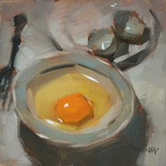 Carol Marine's Painting a Day: November 2009 Small Paintings, Oil Paintings, Egg Art, Painting Still Life, Color Studies, Art Portfolio, Fine Art Gallery, Love Art, Raw Breakfast