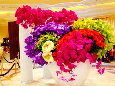 Beautiful flower arrangement at the Wynn in Las Vegas Large Floral Arrangements, Beautiful Flower Arrangements, Beautiful Flowers, Flower Boxes, Tropical Flowers, All You Need Is Love, Event Design, Planting Flowers, Orchids