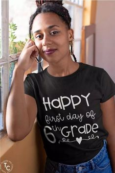 """Celebrate the first day of school with this """"Happy First Day of 6th Grade"""" teacher tee. This is the perfect shirt for the first day of 6th grade. It's both cute and comfortable. #6thgrade #sixthgrade #teachertee #teachershirt #firstdayofschool"""