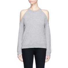 Theory 'Toleema B' cold shoulder cashmere sweater ($335) ❤ liked on Polyvore featuring tops, sweaters, grey, cutout shoulder sweaters, cut-out shoulder sweaters, grey cashmere sweater, cut out shoulder top and pure cashmere sweaters