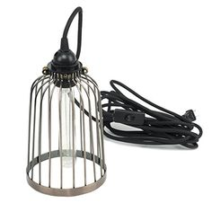 Pendant Lighting by ArtifactDesign With Industrial Style Bird Cage for Authentic Vintage Lights Includes 15 feet Plugin Fabric Cord with Toggle Switch and One Tube Edison Bulb Bronze Finish Industrial Style Lighting, Industrial Pendant Lights, Pendant Lamp, Pendant Lighting, Vintage Lamps, Vintage Lighting, Bird Cage Design, Steel Cage, Diy Light Fixtures