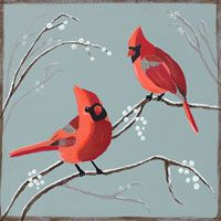 Cardinals and Berries canvas painting party design. #socialartworking
