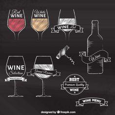 Desenho emblemas vinho Vetor grátis