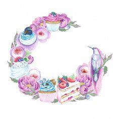 ЗАБРОНИРОВАН! ;-) Один из вариантов цветочно-сладкого венка для акварельного логотипа для домашней кондитерской - не окончательный вариант, а просто тот, который нравится лично мне. И райская птичка так смотрит на розовый капкейк ;-) ----------------------- ------------------------- #art #watercolor #painting  #дизайнвизиток #drawing #cake #торт #логотип  #illustration #instaart #aquarelle #watercolorillustration #акварель #cartel_watercolorists  #рисунок  #визитка  #рисуюназаказ…