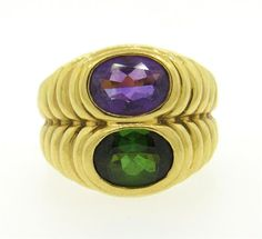 Bulgari Bvlgari 18K Gold Tourmaline Amethyst Ring Featured in our upcoming auction on June 28!