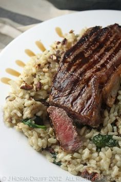 Steak on a blue cheese, spinach and pecan risotto by Cook Sister! YUM!!