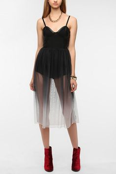 Motel Mesh Overlay Romper Dress...I NEED THIS IN MY LIFE!