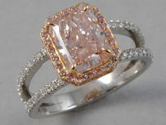 "Natural Pink Diamond Ring from Jewelry Atelier.  Beautiful beyond words - except for ""yes"" and ""please."""