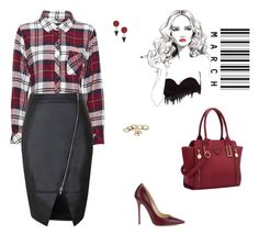 """""""Outfit"""" by imaginefr ❤ liked on Polyvore featuring Rails, Jimmy Choo, Topshop, Leather and burgundy"""