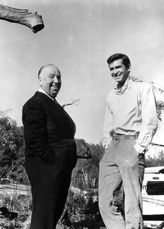 Alfred Hitchcock and Anthony Perkins on the set of Psycho (1960)