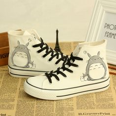 2017 Spring Summer Fashion Hand Painted Canvas Shoes High Top Lace-up Women's Totoro Lovers Doodle Casual Shoes Flat Mujer