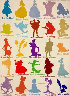 Disney ABC      n is for nemo and t for tarzan and i would love this in my childs room!