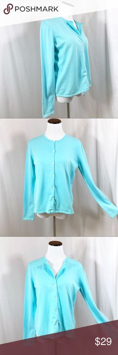 """Lilly Pulitzer Pretty Blue Cardigan Cotton Sweater Lilly Pulitzer Blue Cardigan Sweater Pretty light blue button front cardigan.  Lilly Pulitzer buttons.  Embroidered Lilly Palm Logo on right hip. A precious classic Lilly Pulitzer cardigan  80% Cotton 18% Nylon 2% Spandex ~ Hand wash  Excellent Pre-Owned Condition  Women's Size Medium Underarm to Underarm - 19"""" Top of Shoulder to Hem - 23 1/2"""" Underarm to Sleeve Cuff - 19"""" Lilly Pulitzer Sweaters Cardigans"""
