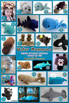 Water Mammals - Animal Crochet Pattern Round Up vi. Water Mammals – Animal Crochet Pattern Round Up via Crochet Round, Cute Crochet, Crochet For Kids, Crochet Patterns Amigurumi, Crochet Dolls, Crochet Yarn, Crochet Sea Creatures, Crochet Animals, Stuffed Animal Patterns