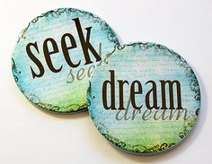 Coasters Seek Dream Drink Coasters Housewarming by KellysMagnets
