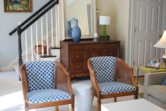 Cane chairs redone - love the fabric with the wood