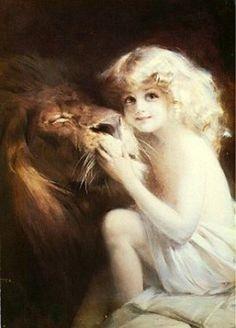 """Beauty and the Beast, 1908, by Polish painter Tadeusz """"Tade"""" Styka"""