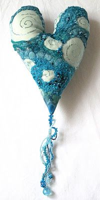 Blue Beaded Dangly Heart by Carolyn Saxby.