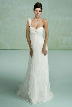 Confetti Daydreams - A romantic lace wedding gown with one shoulder created from handmade flowers (=)