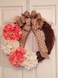 Hydrangea Wreath, Spring Wreath, Summer Wreath, Front Door Wreath,  Grapevine Wreath,