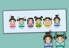 Cute little geishas cross stitch pattern