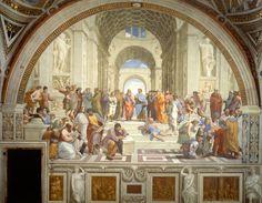 """""""Escola de Atenas"""", de Rafael Sanzio (1483-1520). Esta é uma das mais admiradas obras de Rafael, pois dispõe de 56 personagens, sendo muitos deles figuras de sábios de diferentes épocas juntos como se fossem colegas de uma mesma academia. O afresco (pintura mural) possui 7,7 m de base e 5,7 m de altura e foi uma das várias obras pintadas pelo artista renascentista italiano no vaticano, criada no período de 1509 a 1511."""